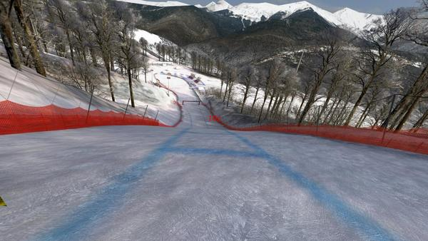 The simulated view of a Sochi downhill, part of the fun at this year's Ski Dazzle