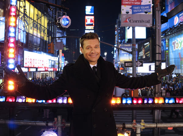 "Jennifer Hudson and Robin Thicke join Ryan Seacrest for ""Dick Clark's New Year's Rockin' Eve with Ryan Seacrest."""