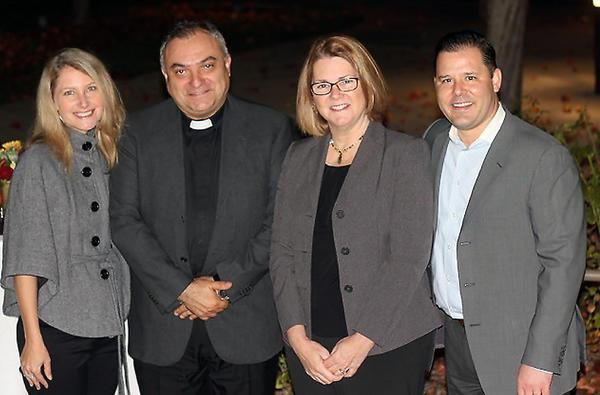 Left to right: Dorey Huston (Glendale), Msgr. Antonio Cacciapuoti (LC), Speaker Lisa Hendey, Joshua Godson (Altadena). St. Bede's hosted CatholicMom.com blogger Lisa Hendey on Tuesday, Nov. 19, 2013.