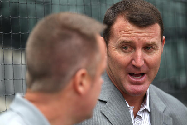 Jim Thome before a White Sox-Orioles game in July.