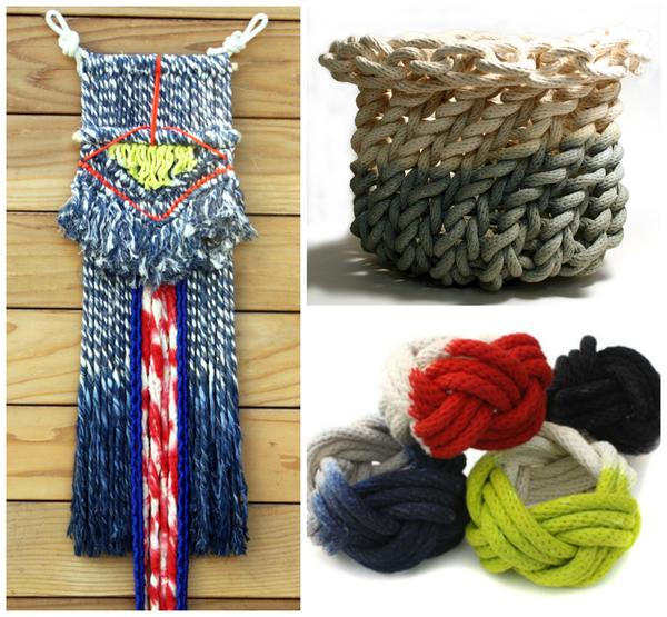 The Los Angeles artist's range includes wall hangings, rope baskets and cotton knot bracelets.