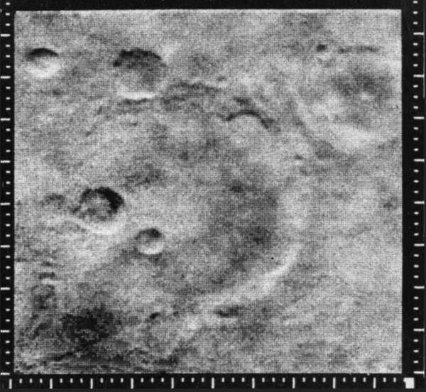 This image is among the first close-up photographs taken of another planet. It was taken by Mariner 4 as it flew past Mars in 1964. The spacecraft, which launched on Nov. 28, 1964, executed the first successful mission to Mars. Red Planet Day commemorates that launch.