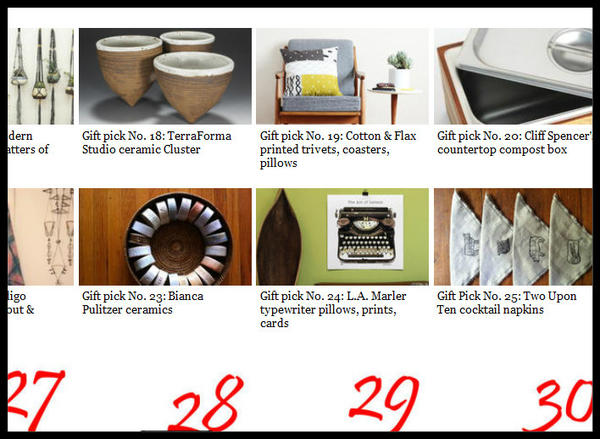 We're counting the days with a gift guide featuring indie artists, artisans and craftspeople who make pots, platters, picture frames, blankets, tea towels and so much more. Go to www.latimes.com/handmade.