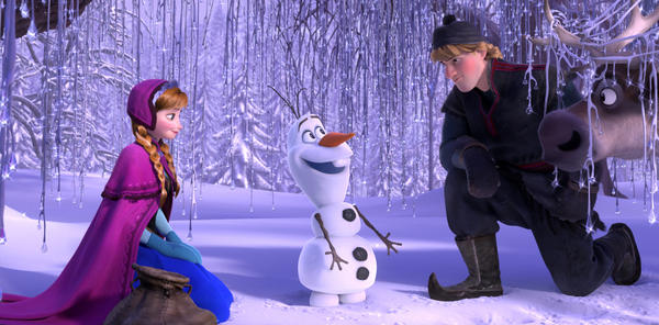 "Anna, voiced by Kristen Bell, Olaf, voiced by Josh Gad, and Kristoff, voiced by Jonathan Groff, in a scene from Disney's ""Frozen."""
