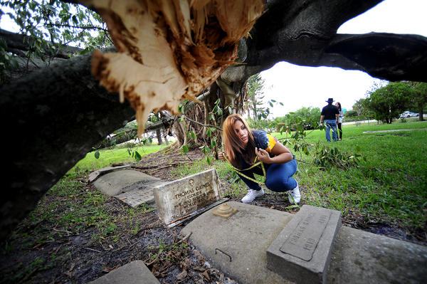 Alicia Gordon, a 17 year-old senior at Boyd Anderson High School, reads out measurements from a tombstone that now has a large tree fallen over it.