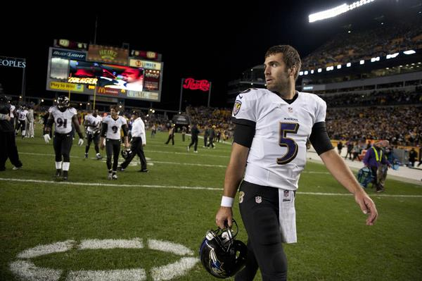 Joe Flacco walks off the field after the Pittsburgh Steelers beat the Ravens 19-16 on Oct. 20.