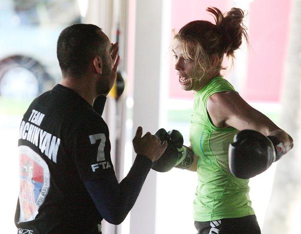 Jessamyn Duke, who trained at the Glendale Fighting Club, will fight Peggy Morgan on Saturday in her UFC debut. (Tim Berger Staff Photographer)