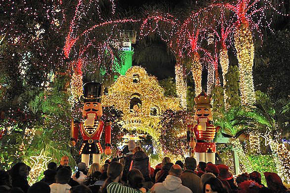 The Mission Inn Hotel & Spa in Riverside will flip the switch for the 21st annual Festival of Lights at the landmark hotel. Pictured is a scene from a previous year's display.