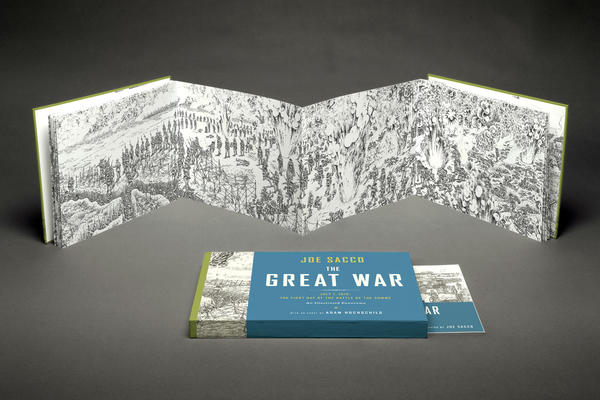 "Cover and spread of the book ""The Great War"" by Joe Sacco."
