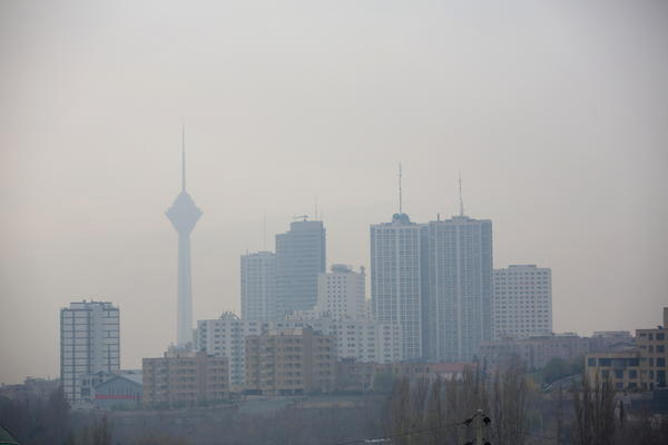 Smog in Tehran engulfs the Milad telecommunication tower and other buildings last year. The Iranian capital has coped with a particularly bad siege of pollution in recent days.