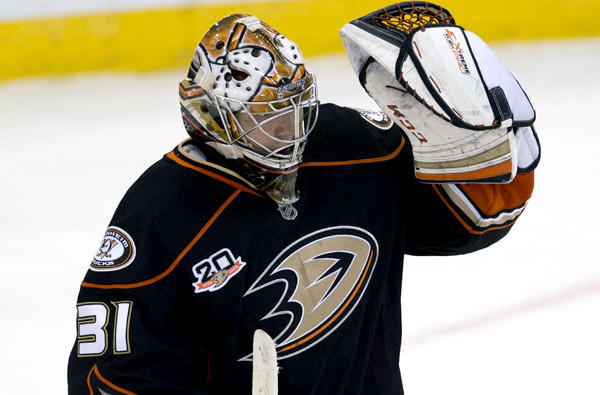 Ducks goalie Frederik Andersen celebrates after a 2-1 victory over the Ottawa Senators earlier this season.
