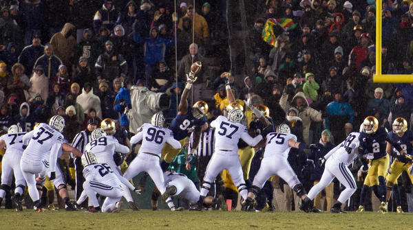 Notre Dame's Jarron Jones (94) blocks the kick against Brigham Young.