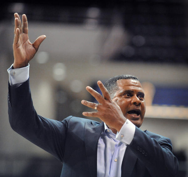 Morgan State head coach Todd Bozeman gestures from the sideline during the second half of a 95-75 loss to Towson earlier this month. In the final year of his contract, Bozeman's future with the Bears is uncertain beyond this season.