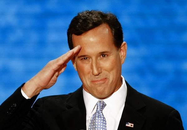 Former Sen. Rick Santorum pops a salute at last year's Republican National Convention in Florida after making an unsuccessful bid for the GOP's presidential nomination.