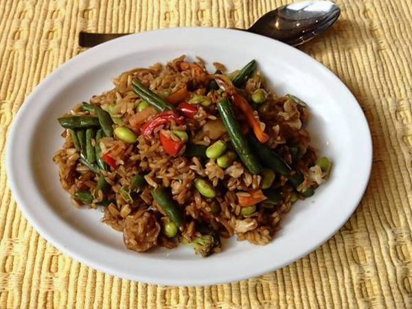 This Easy Fried Rice recipe uses leftover cooked rice and edamame for some protein, but adding chicken or beef turns the dish into a carnivore's treat.