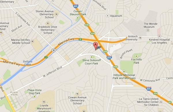 A map shows the approximate location of where a burned body was discovered in Playa Vista on Friday.