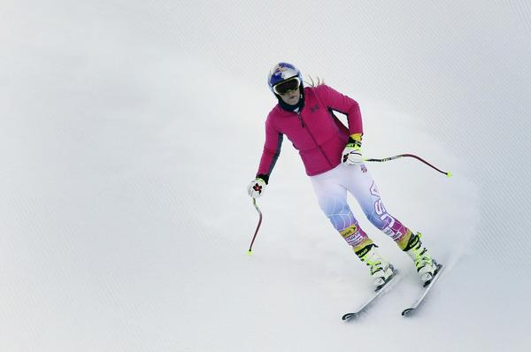 Olympic gold medalist Lindsey Vonn takes part in a Super-G training run Friday.