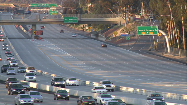 A bomb hoax shut down part of Interstate 15 in San Diego on Thursday.