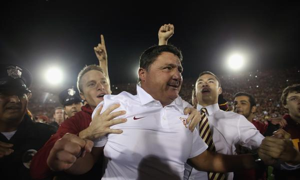 A win for Coach Ed Orgeron and the Trojans against UCLA on Saturday could further complicate USC Athletic Director Pat Haden's decision on a new coach.