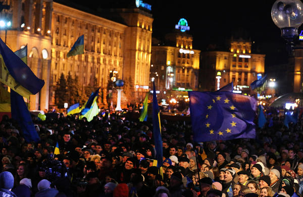 Protesters gather in Independence Square in downtown Kiev on Friday night after the Ukraine abandoned plans to sign a trade and association deal with the European Union.