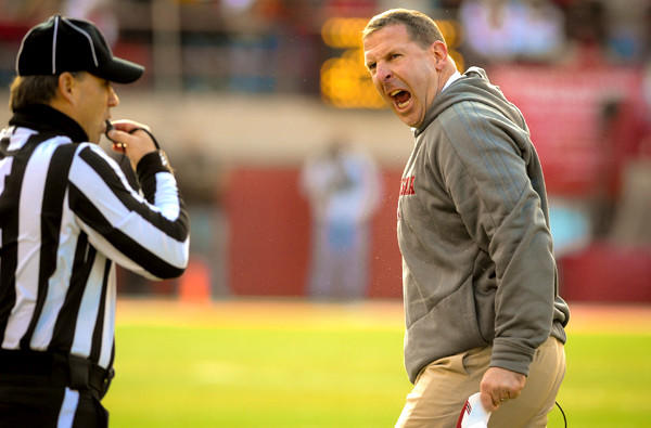 Nebraska Coach Bo Pelini reacts to a call during the Cornhuskers' game against Iowa on Friday afternoon.