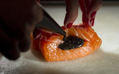 Confit of salmon with pressed caviar and brown butter-Meyer lemon hollandaise