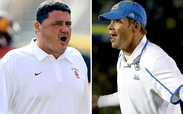 USC Coach Ed Orgeron and UCLA Coach Jim Mora are leading their teams into the annual rivalry game with more at stake than bragging rights.
