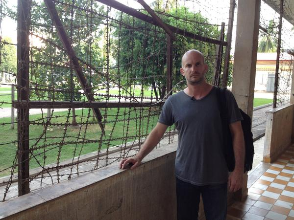 Leon Logothetis at the killing fields in Phnom Penh, Cambodia.