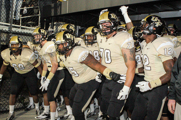 UCF players prepare to take the field before the start of an NCAA football game against USF at Bright house Networks Stadium in Orlando, Fla. on Friday, November 29, 2013. (Joshua C. CrueyOrlando Sentinel)