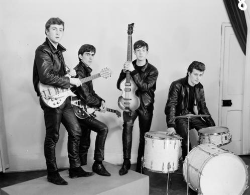 "The Beatles in leather suits. An image from the book ""Tune In: T"