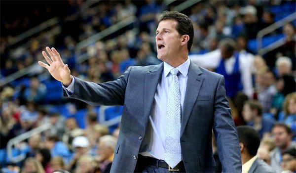 Coach Steve Alford gives instructions to the Bruins during a game earlier this season against Morehead State at Pauley Pavilion.