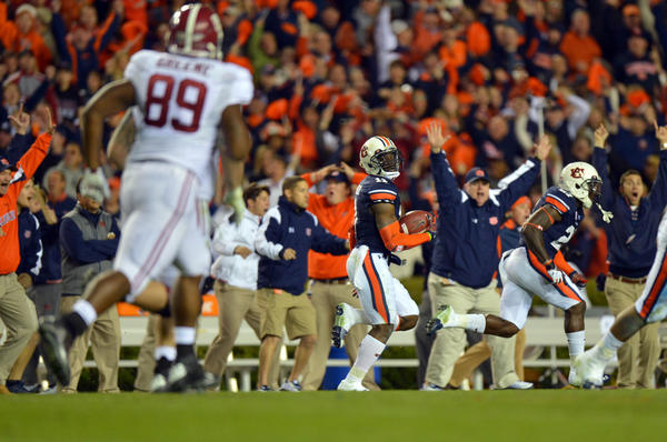Auburn's Chris Davis returns a missed field goal 109 yards with no time left in the game against Alabama.