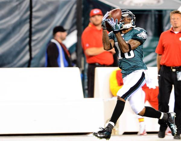 Philadelphia Eagles wide receiver DeSean Jackson (10) against the Kansas City Chiefsat Lincoln Financial Field in Philadelphia on Thursday September 19 , 2013.