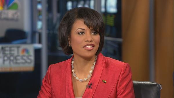 "Baltimore Mayor Stephanie Rawlings-Blake appears on NBC's ""Meet the Press."""