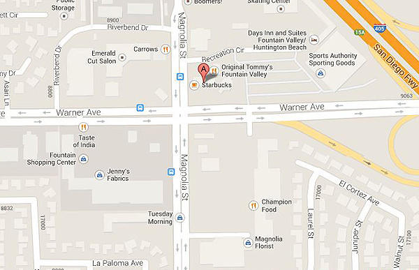 Map shows approximate location of a robbery in Fountain Valley.