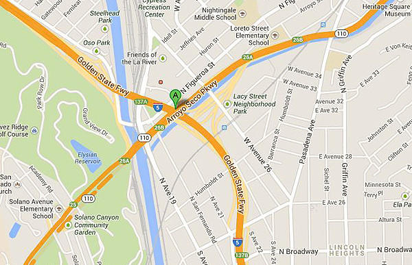 Map shows approximate location of a fatal car crash near downtown Los Angeles.