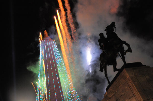 The annual lighting of the Washington Monument draws big crowds to Mount Vernon Place