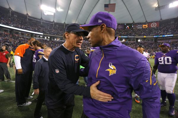 Coach Marc Trestman (left) and the Bears are done playing in the Metrodome.
