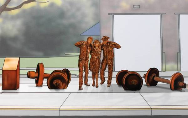 Artist Paul Kuhn's rendering of the proposed Naperville train accident memorial shows three figures with actual rail car wheels embedded in concrete.
