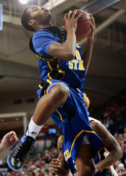 Arnold Fripp of Coppin State pulls in a rebound during the second half of the game against Gonzaga.