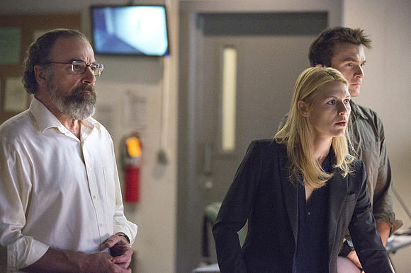 "Mandy Patinkin as Saul Berenson, Claire Danes as Carrie Mathison and Rupert Friend as Peter Quinn in ""Homeland."""