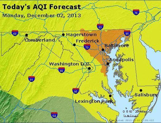 Code Orange air quality was forecast Monday across much of Central Maryland.