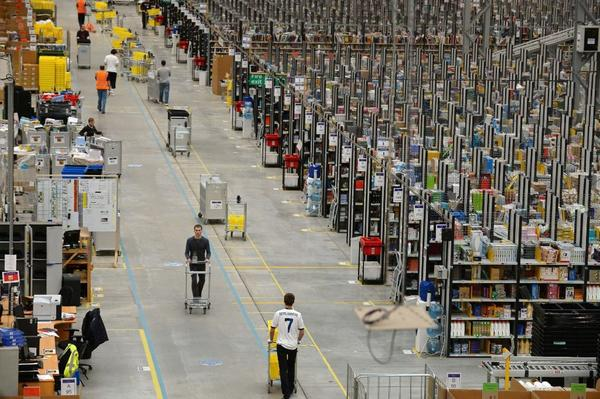 "Let's hear no more about the ""burden"" of sales taxes: An Amazon fulfillment center hums in Great Britain."