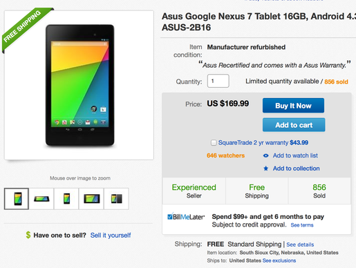A refurbished 16 GB Nexus 7 is available on EBay for $169.99, down from the regular price of $229.