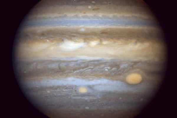 In this image taken by NASA's Hubble Space Telescope on April 16, 2006, Jupiter's Great Red Spot can be seen on the right.