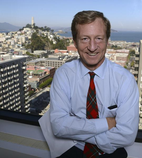 Billionaire Tom Steyer at his San Francisco office in November 2012. Steyer convened a conference on the Keystone XL pipeline Monday at Georgetown University.