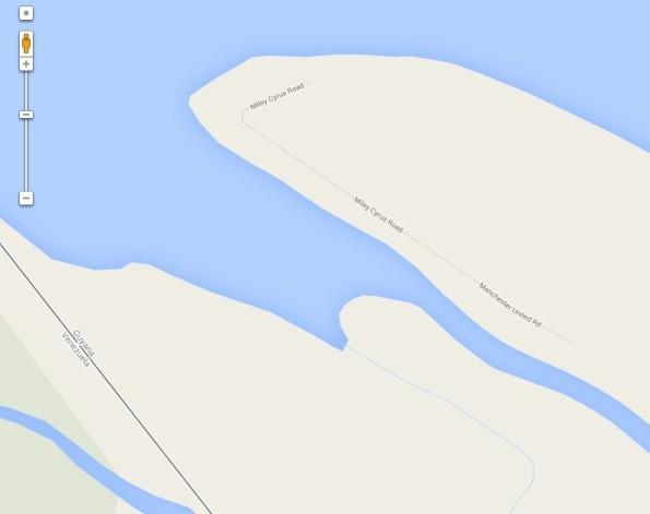In this screenshot from Google Maps, Miley Cyrus Road is shown along the coast of Guyana, near the border of Venezuela.