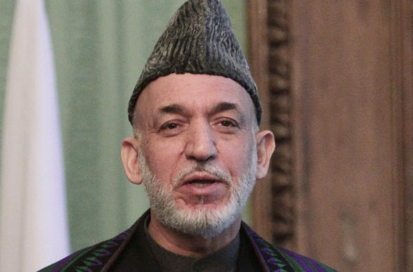 Afghan President Hamid Karzai speaks during a press conference in Kabul, Afghanistan.