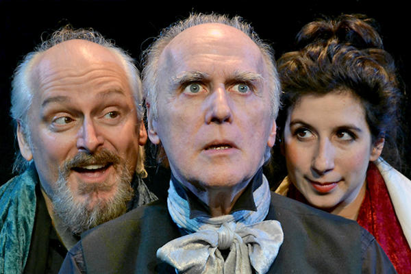 "Left to right: Frank Simons, David Allen Jones and Jenna Augen in ""A Christmas Carol"" at Grove Theater Center at GTC Burbank."
