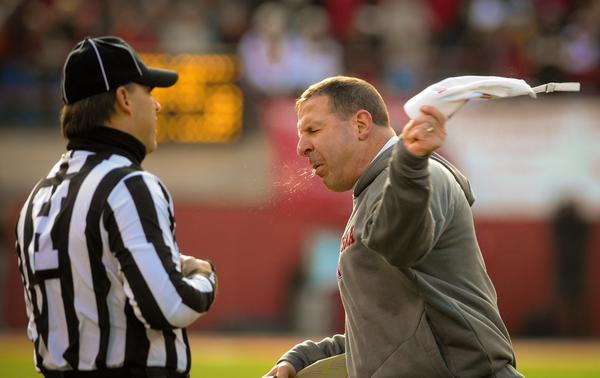 Nebraska coach Bo Pelini reacts to a call during their game against Iowa.
